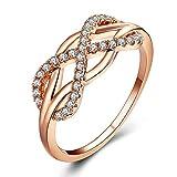 BlackAmazement 316L Edelstahl Ring Unendlichkeit Infinity Zirkonia Silber Rosegold Schleife Damen (Rosegold, 63 (20.1))