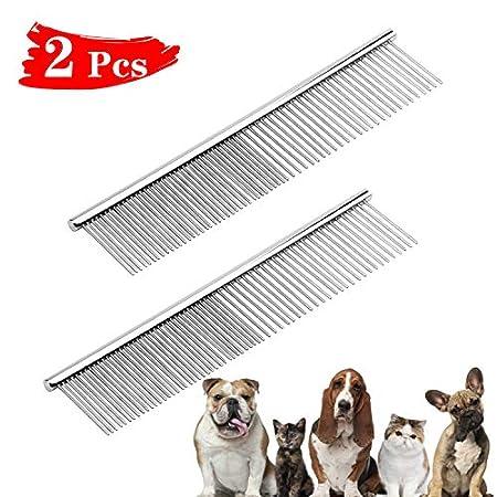 NATEE 2 Stück Hundekamm, Edelstahl Hundesalon Kämme Stainless Steel Comb Haustier Bürste, Professionelle Katzen und…