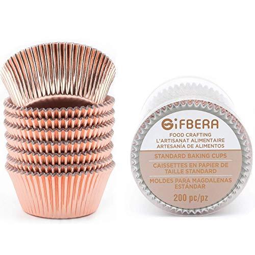 Gifbera Muffin-Cupcake-Förmchen, Metallfolie, Durchmesser 5 cm, 200 Stück rose gold