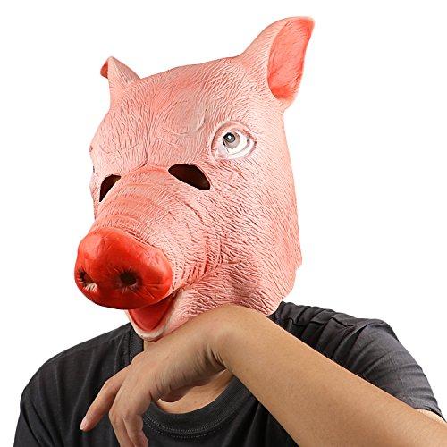 ostüm Party Maske Latex Tierkopf Maske Rosa Schwein Kostüm Dekorationen (Schweinekopf Kostüme)