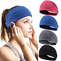 Perkisboby 4 Pack Sport Headband for Women & Men, Stretchy Moisture Wicking Wide Hairband Fabric to Keep Head Dry & Cool for Running, Hiking, Yoga, Basketball, Cycling Helmet Friendly
