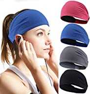Perkisboby 4 Pack Sport Headband for Women & Men, Stretchy Moisture Wicking Wide Hairband Fabric to Keep H