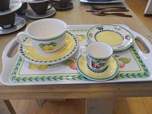 VILLEROY BOCH FRENCH GARDEN SET 7 pieces 2 tasses petite petit déjeuner- - 2 tasses cafe express -2 plate 18cm pain- 1 sucrier