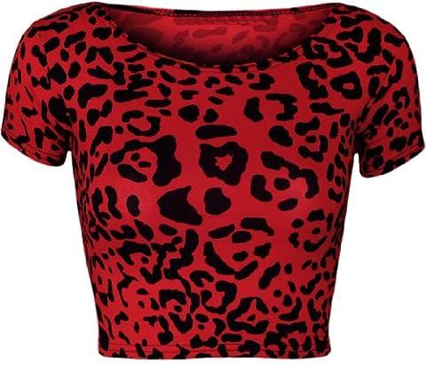 WearAll - Femmes Rouge Leopard imprimé animal court Cap Sleeve Vest Crop Haut - Femmes - Rouge Léopard - 36-38