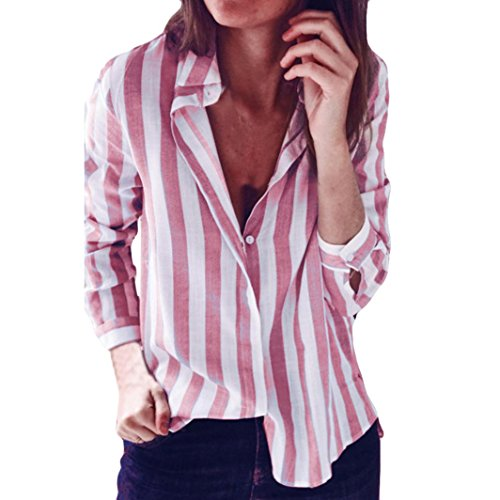 Women Striped Casual Top T Shirt Ladies Long Sleeve Tops Blouses Ladies Fashion Stripes Print Turn-Down Collar Loose Shirts New Look Buttons Pencil Tops Comfy Blouses