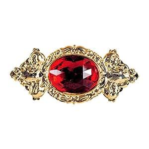 Grande broche baroque broche rubis bijou précieux bijou col pin's bijou en or soirée à thème roi prince accessoires déguisement