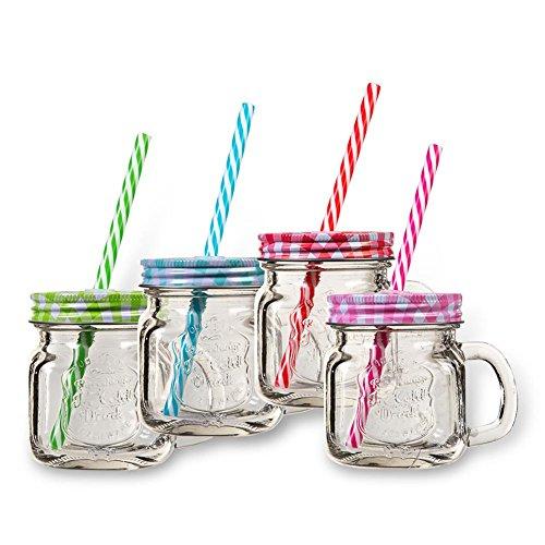 4 x HC-Handel 923360 Trinkglas mit Henkel und Strohhalm 200 ml verschieden farbig