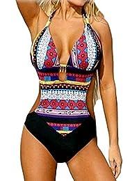 Baymate Mujeres Trajes de Baño de una pieza Retro Impresión Bañador Push Up Bikinis Ropa de baño
