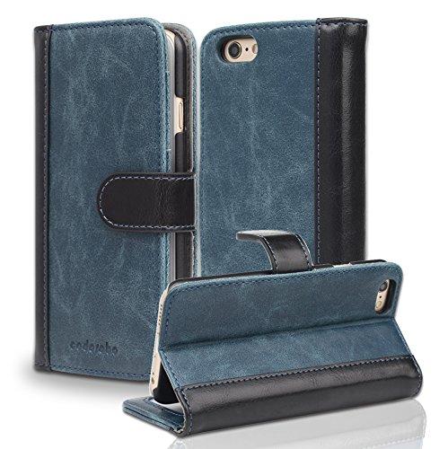 Cadorabo apple iphone 6 / iphone 6s custodia di libro di finta-pelle bicolore in azzurro nero – con vani di carte e funzione stand – portafoglio cover case wallet book etui protezione