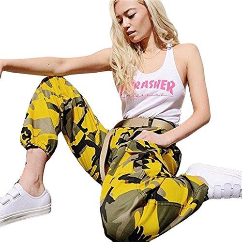 Damenbekleidung Damenhosen Sporthosen hosen JYJM Frau Tarnung gedruckt Jeans Harem Hosen Frauen Sport Camo Cargo Hosen Outdoor Casual Camouflage Hosen Jeans (L, Gelb) (Gelbe Pyjama Hose)