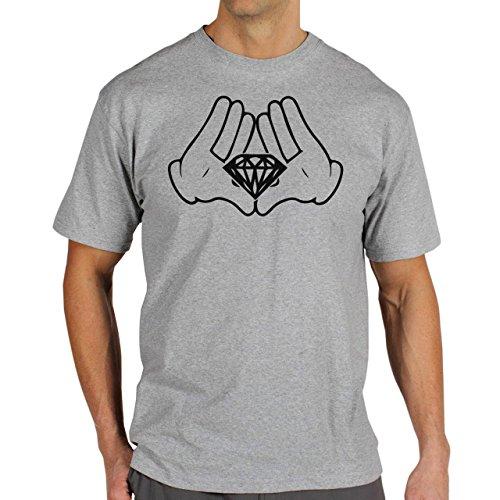 Illuminati Triangle Art Majestic White Gloves Mickey Diamond Herren T-Shirt Grau