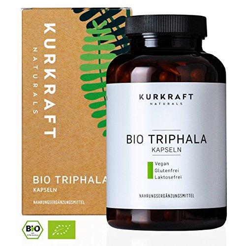 Kurkraft® Bio Triphala (180 Kapseln) - LABORGEPRÜFT - 500mg - Original Ayurveda aus dem Perikarp - in Bio-Qualität - Vegan & Naturbelassen - Sorgfältig hergestellt in Deutschland