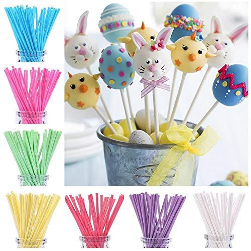 Chen0-super 100 Stück mehrfarbige Papier-Lollipop-Stäbchen für Kuchen, Pops, Dessert, Stäbchen, 0,35 x 15 cm