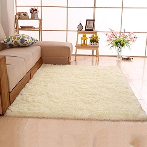 Jack Mall- Langhaar verdickte Wasser seidig minimalistisch moderne Wohnzimmer Couchtisch Schlafzimmer Bettvorleger Erker ( farbe : Nicht-gerade weiss , größe : 1.4x2 M )