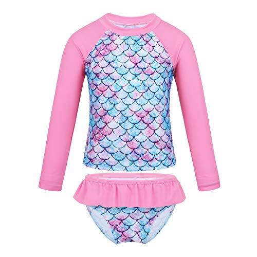 iixpin Mädchen Fischschuppen Schwimmanzug UV Schutzkleidung Kinder Badeanzug Zweiteiler Tank Top mit Schlüpfer Sport Tankini Gr.92-128 Rosa 122-128