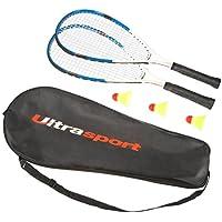 Ultrasport Set de speed bádminton, set de bádminton con 2 raquetas y 3 volantes, set de speed bádminton con bolsa de transporte, ideal para echar un partido ocasionalmente, Azul