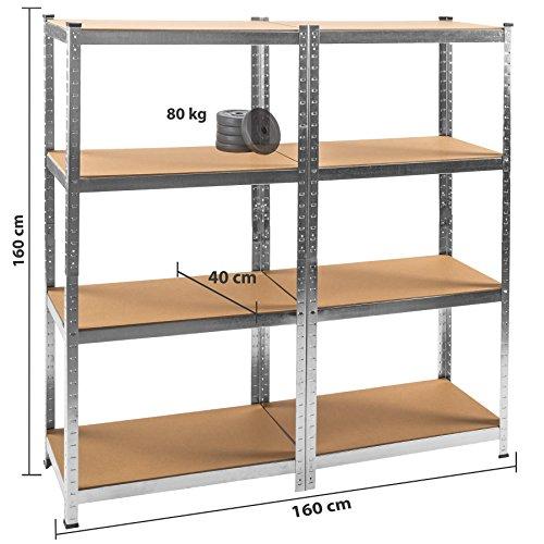 TecTake Werkstattregal mit 8 Ablagen 640kg Gesamttraglast Steckregal Lagerregal Werkbank Garage 160x160x40cm - 6