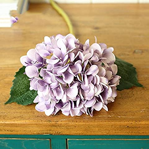 YSBER 3 Big Köpfe Bouquet Künstliche Hortensie, Blume Blumen Hochzeit Blumen festen Halt Fake Party Garten Tisch Decor Bouquet(Lila)