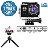 Captcha 4K WIFI Sports Action Camera Ultra HD Waterproof DV Camcorder 16MP 170 Degree Wide Angle With 228 Mini Tripod Stand For Action Cameras / Photo Cameras / Smartphones Compatible With Xiaomi, Lenovo, Apple, Samsung, Sony, Oppo, Gionee, Vivo Smartphon