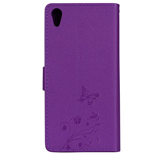 Surakey Coque Compatible avec Sony Xperia L1,Fleur de Papillon Motif Cristal Glitter Strass PU Cuir Case à rabat Coque Portefeuille Housse Flip Wallet Case Magnétique Étui pour Sony Xperia L1,Violet