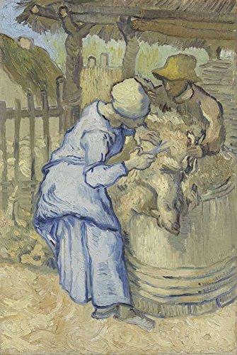 Van Gogh Die Schaf-Schermaschinen Nach Hirse Leinwandbilder Reproduktionen 40X60cm Figur Gemälde Komplett Texturiert 3D Gedruckt Wandkunst für Wohnzimmer