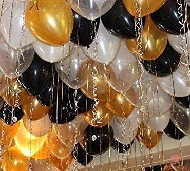 Party Propz 35Pcs Golden, Silver and Black Balloon Birthday Decorations Items Combo for Kids,Adult Birthday