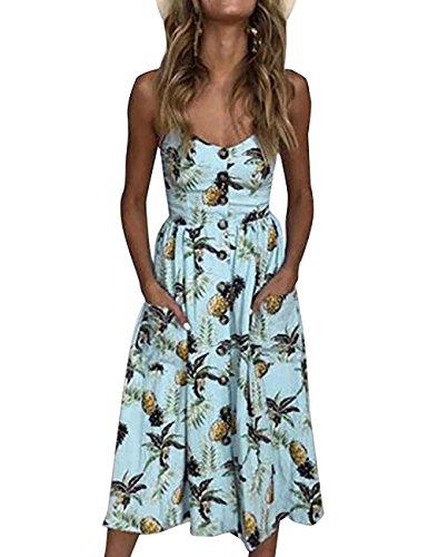 Yieune Sommerkleid Damen Strandkleid Ärmellos Blumenmuster Trägerkleid Knielang Abendkleider Sexy Partykleid Cocktail Kleid (Blau M)