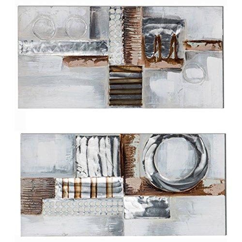 2er SET Wandbilder, Wanddeko MODERN ANTIK je 40x80cm silber braun Formano
