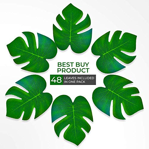 rty-Dekoration, künstliche Palmenblätter, perfekt für Safari-Dschungel, hawaiianischer Strandparty oder Geburtstagsdekorationen, 48 Stück Qualität ()