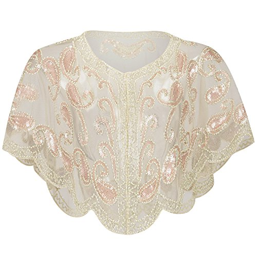 ArtiDeco 1920er Jahre Retro Schal Umschlagtücher für Abendkleider Braut Schal für Hochzeit Party Gatsby Kostüm Accessoires (Beige)