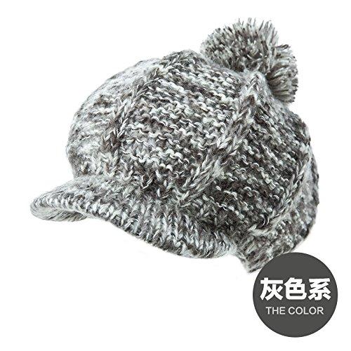 FQG*enfants Caps d'hiver élégant bord belle marée chapeaux tricotés chaud épais capuchon hat tricot , noir Gray