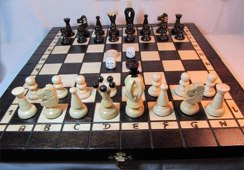 ChessEbook-Schachspiel-Dame-Backgammon-35-x-35-cm-Holz