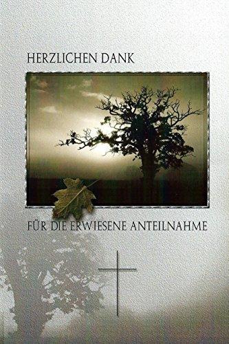 Trauer Danksagungskarten Trauerkarten ohne Innentext Motiv Baum 10 Klappkarten mit weißen Umschlägen Dankeskarten Dankeschön Karten Danke sagen (K/H43)