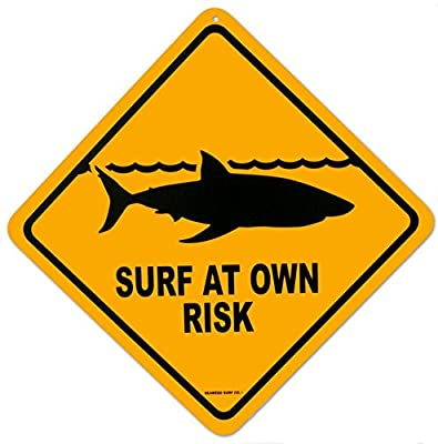 Shark Warning Sign Surf At Own Risk Surfboard Wall Art