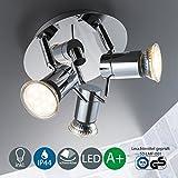 B.K.Licht Plafonnier LED orientable pour salle de bain avec 3 ampoules 230V GU103W IP44 Convient pour salle de bain séjour chambre à coucher Lampe de plafond/applique murale/d'intérieur orientable Blanc chaud 3x 250lm En métal chromé et en verre Classe énergétique A+