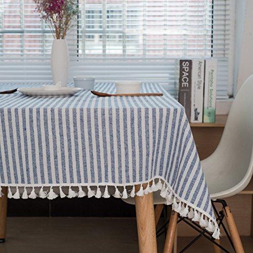 Meiosuns Gestreifte Tischläufer Fringe Tischläufer Einfache und Elegante Heimtextilien für Den Innen- und Außenbereich (Blaue/weiße Streifen, 120 x 160 cm) - Rechteck Blau Tischdecke
