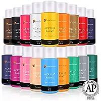 Juego de pintura acrílica por Color Technik, calidad de artista, colores nuevos, 18 botellas de 59 ml, mejores colores para pintar lienzo, madera, arcilla, tela, uñas y cerámica, pigmentos ricos, cuerpo pesado, regalo