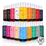 Acrylic Paint Set By Color Technik, Artist Quality, NEW COLOURS, 18x59ml (2-Ounce) Bottles, Best Colours for Painting Canvas, Wood, Clay, Fabric, Nail Art & Ceramic, Rich Pigments Heavy Body. Gift Box