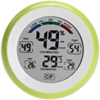 SODIAL Pantalla LCD digital Termometro interior Higrometro Redonda Temperatura electronica inalambrica Medidor de humedad Estacion meteorologica Tester verde