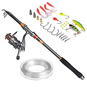 PLUSINNO® Travel Spinning Fishing Rod Combos Carbon