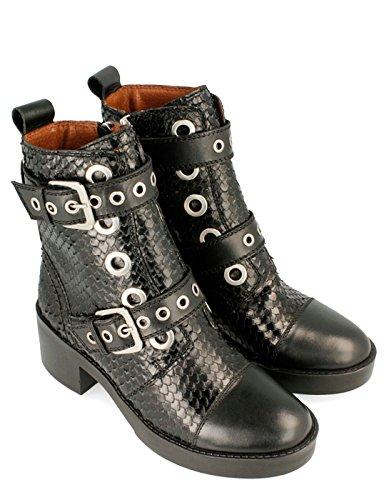 Gioseppo Black Leather Booty Par Black