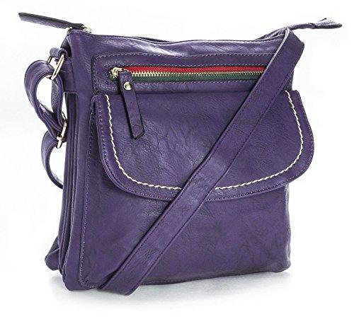 Big Handbag Shop donna cross-body-borsa in ecopelle Viola (Deep Purple) Venta Caliente En Venta Clásico Libre Del Envío Envío Libre Barato Real Comprar En Línea De Alta Calidad Muchos Colores TPVuol1j