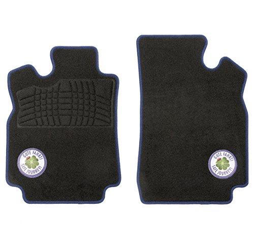 CarFashion Glücksklee B02, Auto Fussmatten Set 2-teilig in schwarz mit farbigem Glücksklee Logo VLR, ohne Mattenhalter