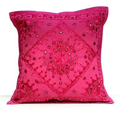 A Unique Ethnic Home Decorative Indian Mirror Work Pillow Cushion Cover - inexpensive UK light shop.