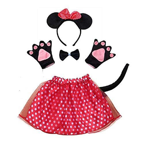Lovelegis set costume da topolina minnie - per bambina - tutù - cerchietto - guanti - papillon - coda - travestimento accessori carnevale halloween cosplay - colore rosso