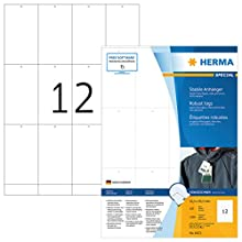 HERMA Robust Printable Tags, 12 Tags Per A4 Sheet, 1200 Tags For Laser And Inkjet Printers, Perforated, 52.5 x 93.5 mm (6872)