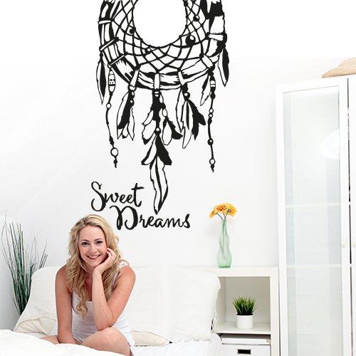 01301 Adesivo murale Wall Art Aforisma - Acchiappasogni sweet dreams - Misure 60x88 cm - nero - Decorazione parete, adesivi per muro, carta da parati