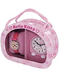 Hello Kitty Mädchen - Armbanduhr und Kinderwecker Analog Quarz Mädchen Rosa