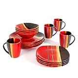 Home Trends 61590.16rm Bazaar rot quadratisch Geschirr-Set, Rot/Schwarz/Weiß/Orange Streifen