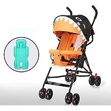 DACHUI Portátil ultraligero Plegable carros de bebé, puede sentarse simple carros infantiles, baby mini paraguas, cochecito de bebé (Color : Naranja)